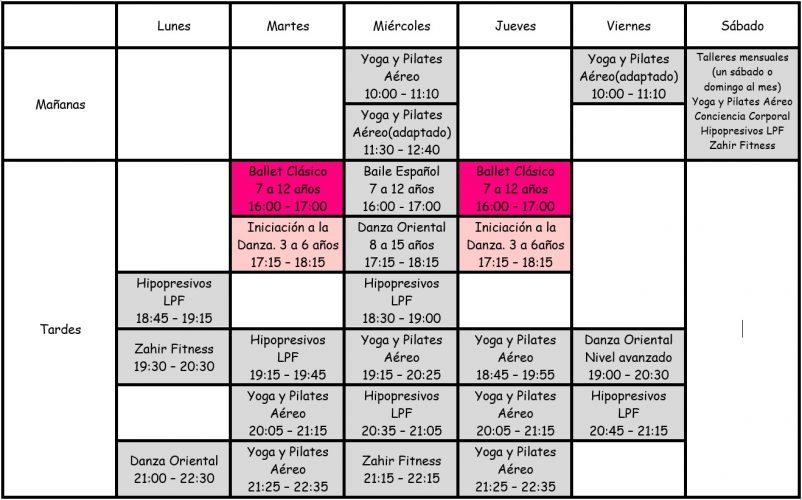 zahir horario clases ballet