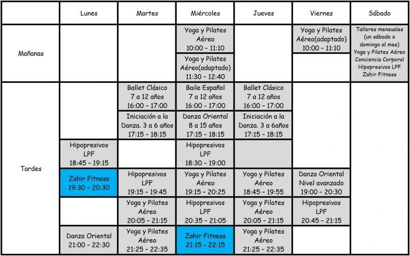 zahir horario clases fitnes