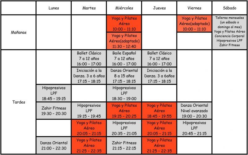 zahir horario clases yoga
